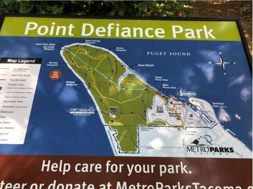 Map of Point Defiance Park in Tacoma